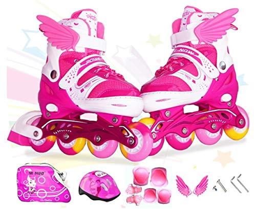 Sumeber Inline Skates Kinder Inliners Roller Skates Roller Blades 4 Räder Flash Kinder Inline Skates (Rosa, M(35-38))