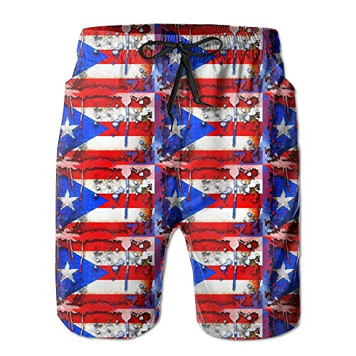 HOOTDYA Men Wonderful Puerto Rico Flag Swim Trunk Board Short Beach ShortsL -