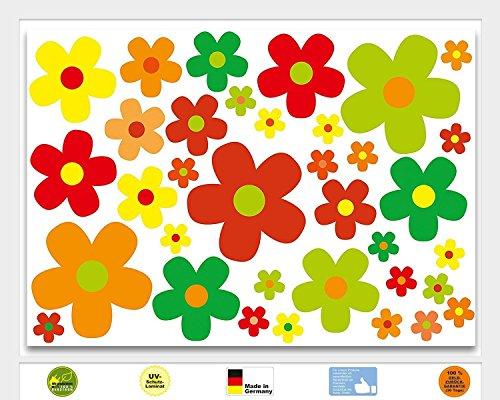 Aufkleber Set Blumen Blümchen bunt I kfz_243 I Flower-Power Sticker für Roller Fahrrad Notebook Laptop Handy Auto-Aufkleber wetterfest (Blume Roller)