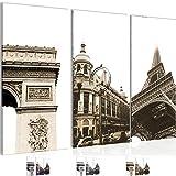 Bild 120 x 80 cm - Paris Bilder- Vlies Leinwand - Deko für Wohnzimmer -Wandbild - XXL 3 Teilig Teile - leichtes Aufhängen- 803531c