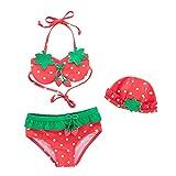 De feuilles Baby Mädchen Bikiset Neckholder Bunte Bikini Badeanzug Erdbeere Strawberry Bodysuit Poolka Punkt Swimwear