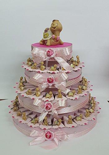 Torta bomboniere tartarughe portachiave fiocco rosa immaginie assortite battesimo comunione cresima promessa nascita compleanno completa di bigliettino + centrale (60 fette)
