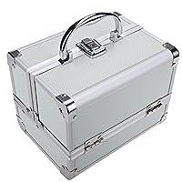 Homdox Aluminium Kosmetikkoffer Schmuckfach Schminkkoffer Kosmetic Makeup Storage Beauty Case 20 x 15.5 x 15.5 cm Silber (innen Rosa)