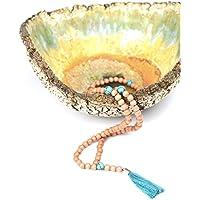 Ahimsa Glow Mala con piedras de turquesa y borla – Collar de meditación hecho de 108 cuentas de madera y piedras hermosas