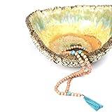 Ahimsa Glow Mala-Kette mit Türkis-Perlen und Quaste –Gebetskette aus 108 Holzperlen und Halbedelsteinen