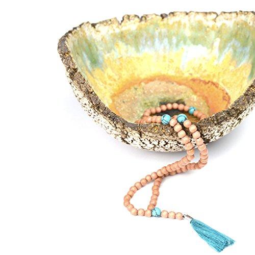 Ahimsa Glow Mala-Kette mit Türkis-Perlen und Quaste -Gebetskette aus 108 Holzperlen und Halbedelsteinen -
