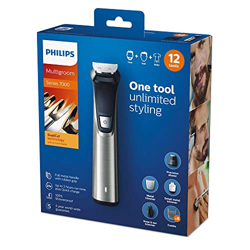 Philips Series 7000 12-in-1 Ultimate Multi Grooming Kit for Beard, Hair and Body with Nose Trimmer Attachment, Premium Metal Handle - MG7735/33 Img 4 Zoom