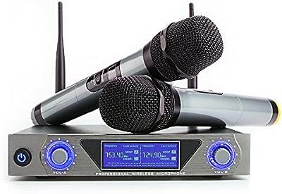 Micrófono inalámbrico con sistema UHF dual con canales Pantalla LCD Micrófono con receptor de 100M 2 micrófonos de mano anti-imterferencias para bodas al aire libre conferencias karaokes o fiestas