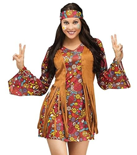 Groovy Hippy Lady Outfit. Flower power dress with fringe top and matching headband.