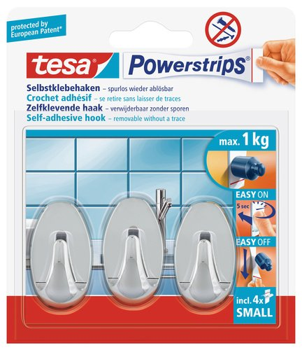 tesa-57543-powerstrips-small-hooks-oval-chrome-self-adhesive-and-removable-3-hooks