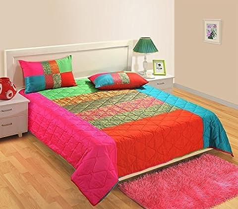 1Gesteppte Tagesdecke mit 2Kissenbezügen für Doppelbett Set von 3, Faux Seide und Brokat Woven, Multi Farbe