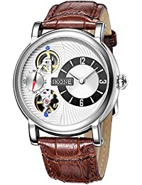 SKONE Fashion Quartz Mechanical Double Movement Mens Watch with Digital Nailed Scale and Real Small Seconds Dial (Coffee)