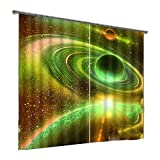 CURTAINS Ldfn Vorhänge 3D Planeten Schalldämmung Blackout Anti-UV Für Boden-bis Deckenfenster Bay Window 2 Stück,Green-260 * 200cm