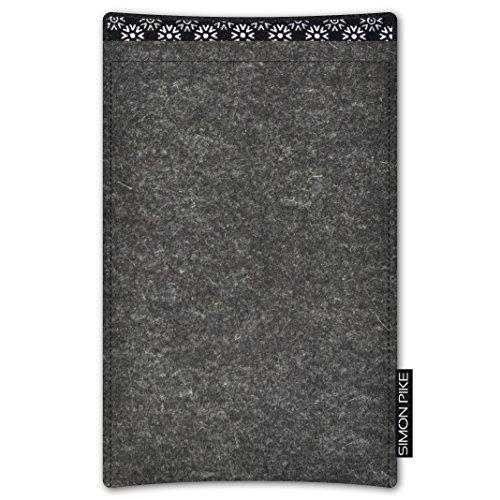 SIMON PIKE AppleiPhone 7 / 6 / 6S Filztasche Case Hülle 'Boston' in anthrazit1, passgenau maßgefertigte Filz Schutzhülle aus echtem Natur Wollfilz, dünne Tasche im schlanken Slim Fit Design für das iP anthrazit Filz (Muster 16)