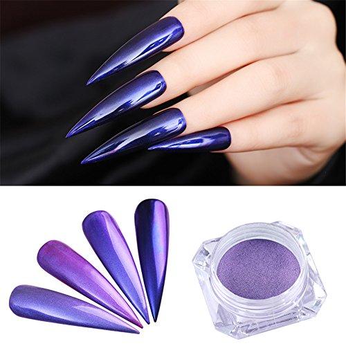 Born Pretty Nail Art Purple Glitter Mermaid Pearl Mirror Manicure Chrome Pigment Powder Dust