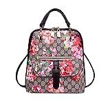 Hsug Blumen Vintage Backpack Wasserdicht Portable Ranzen Damen Klein Rucksack Leder Party Rucksäcke Elegant Lässig Daypacks