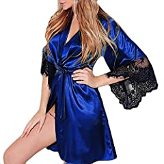 Idea Regalo - a Buon Mercato Babydoll Donna,Intimo Donna Sexy Erotico,Donna Sexy Kimono di Seta Dressing Babydoll Lace Lingerie Cintura da Bagno Robe da Notte