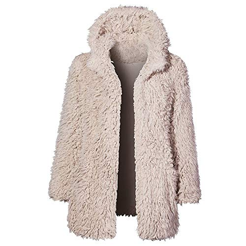 VonVonCo Damen Mantel Kapuze PlüSchjacke Long Sleeve Strickjacke Faux Wollmantel Outwear Hoodie Casual Steppmantel Winterjacke (Beige, S)