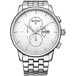 BUREI Men's Day and Date Multi-Function Chronograph Stainless Steel Watch with Silver Bracelet