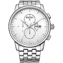 BUREI Herren-Armbanduhr 42mm Armband Edelstahl Gehäuse + Saphirglas Quarz Zifferblatt Weiß BM-7003-51A