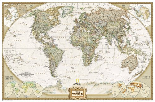**World Political Executive Antique186 Cm X 125 Cm: Enlarged Executive Line (World Maps)