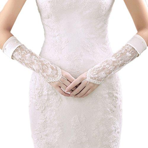 DreamyDesign Damen Lang Spitze Handschuhe Brauthandschuhe Abendhandschuhe lang fingerlos Party Sexy Abendkleid Hochzeit (Beige)