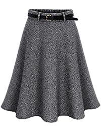 b0ae59326bf2f Huixin Gonne Donna Elegante Moda Puro Colore Vintage Vita Alta Linea Ad A Taglie  Forti Gonna