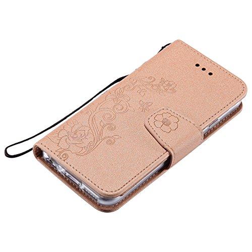 Abnehmbare 2 in 1 Premium PU + TPU Leder Tasche geprägt Blumen Stil Glitzer Sparkles Brieftasche Stand Case Cover mit Kreditkarte Slots & Lanyard & Magnetic Closure für iPhone 7 ( Color : Rosegold ) Gold