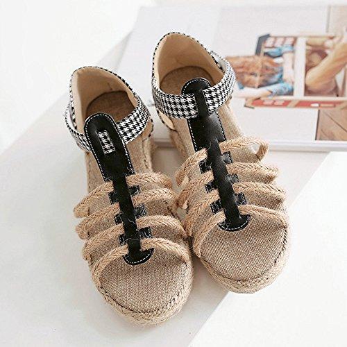 Cunha De Sapatos Mulheres T Sandálias Fashion Das Velcro Calcanhar evento escorregas Preto Com Dedo De Coolcept Aberto wABqqFxP
