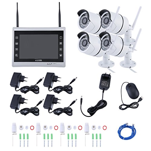 Sweepid Überwachungsset 4CH 960P Funk WLAN 1TB Video Kamera HD Komplettset NVR Überwachungskamera System