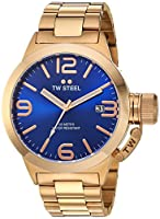 TW Steel Canteen Unisex reloj de cuarzo con azul esfera analógica y plateado pulsera de oro rosa