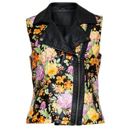 Only floral veste en cuir synthétique Noir - Noir