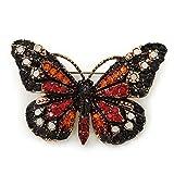 Monarchfalter-Brosche, vergoldet, mit kleinen schwarzen, orangefarbenen, roten, milchweissen österreichischen Kristallen, 37 mm Breite