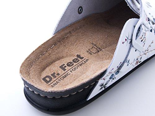 Dr. Feet - Sabots Slip-on en cuir anti-dérapant de haute qualité pour femme, anti-dérapant et léger Fabriqué en Europe fleur