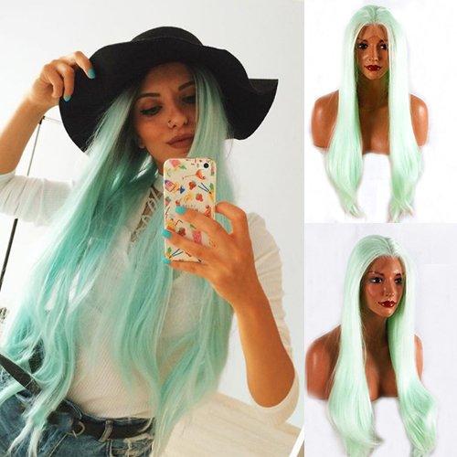 Blue Bird Lace Front Lange Gerade Synthetic Hair Natural Mint Grün Perücken für Frauen Cosplay Kostüm Party Perücke mit Kappe