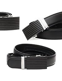 Kandharis Gürtel Automatik-Gürtel Leder Jeansgürtel Herrengürtel Automatikschließe Schwarz Modell 115