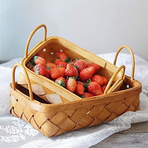 iBaste-Obstkorb Holz Chip Woven Aufbewahrungskorb, Speicher Esskorb,Obst Picknick Korb,Hand-gewebter Korb, Brotfruchtspeicherkorb, Küchenspeicherkorb -
