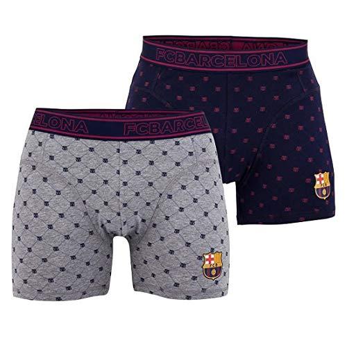 Boxershorts FC Barcelona, offizielles Lizenzprodukt, Blau, Grau, 2 Stück L Bleu - Gris - Barcelona Unterwäsche