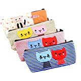 Pilink Set of 4 Large Capacity Canvas Pen Pencil Stationery Bag Pouch Box Case - Cute Cat Design and Candy Color