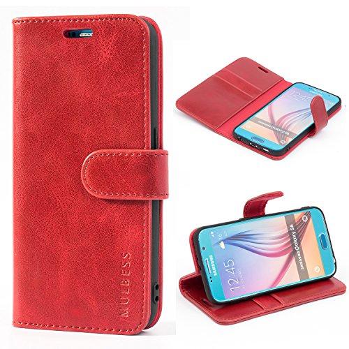 Mulbess Handyhülle für Samsung Galaxy S6 Hülle, Leder Flip Case Schutzhülle für Samsung Galaxy S6 Tasche, Wein Rot