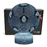 Deal Best Fútbol Forma 3d ilusión óptica Smart 7 colores LED luz de noche lámpara de mesa con cable de alimentación USB, para Real Madrid Fútbol Fans Regalo