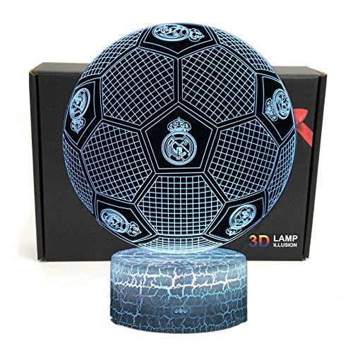 Deal Best Fútbol Forma 3d ilusión óptica Smart 7 colores LED luz de noche lámpara de mesa con cable...