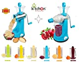 Kitchen Khajana™ Transparent 7 in 1 Rotary Drum Grater Slicer And Shredder With juicer( 1st Time in india with juicer Attachment))