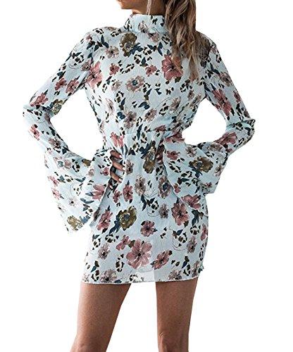 WOZNLOYE Vestiti Floreali Donna Sexy Vestito Schiena Nuda Abito Maniche a Campana Abiti a tubino Corto Vestitini da Sera Partito Festa Vacanza Banchetto (blu, IT42-44 / Asia M)