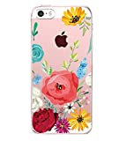 Pacyer iPhone SE Hülle Silikon Ultra dünn Transparent iPhone 5S iPhone 5 Handyhülle Rückschale TPU Schutzhülle für Apple iPhone SE/5S/5 Case Cover Mädchen Elefant Federn (12)