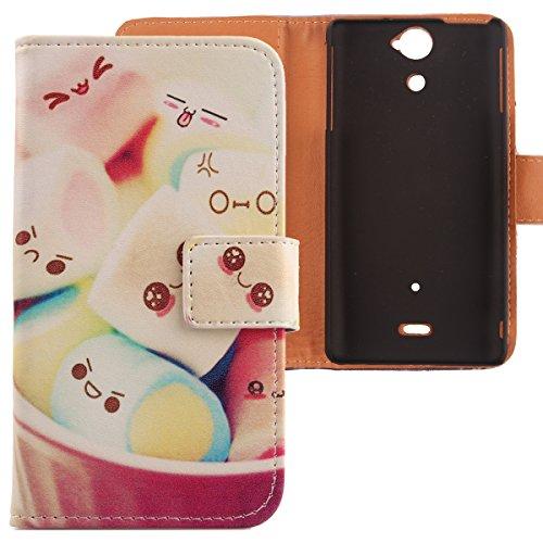 Lankashi PU Flip Leder Tasche Hülle Case Cover Schutz Handy Etui Skin Für Sony Xperia V Lt25i Lovely Design