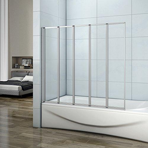 faltbare duschwand fuer badewanne Badewannenaufsatz Duschabtrennung 120x140cm 5-teilig Duschwand für Badewanne Faltbar Sicherheitsglas