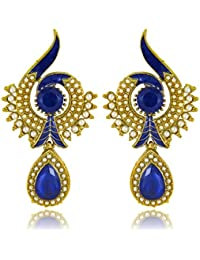 Traditional Ethnic Blue Peacock Dangler Earring With Crystal & Artificial Pearl For Women By Donna ER72021G