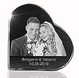 VIP-LASER 2D Gravur Glasherz mit Deinem Hochzeitsfoto Hochzeitsbild Hochzeit graviert Dein Wunschfoto für die Ewigkeit Mitten in Glas!