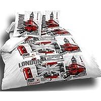 Cflagrant® Housse De Couette London Union Jack 220x240 2 Personnes + 2 Taies 65x65cm100% Coton 57 Fils Londres Blanc Gris et Rouge